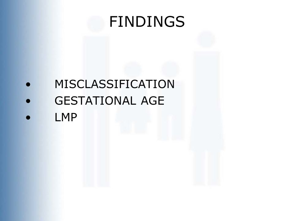 FINDINGS MISCLASSIFICATION GESTATIONAL AGE LMP
