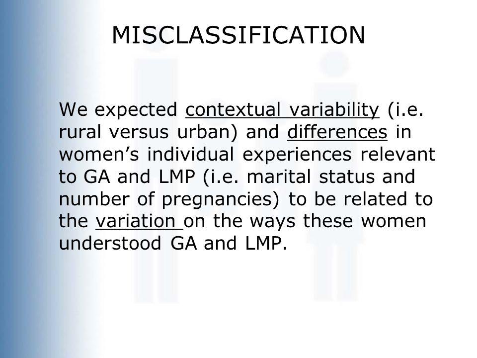 MISCLASSIFICATION We expected contextual variability (i.e.