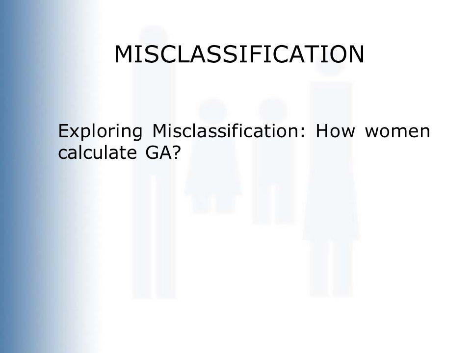 MISCLASSIFICATION Exploring Misclassification: How women calculate GA?