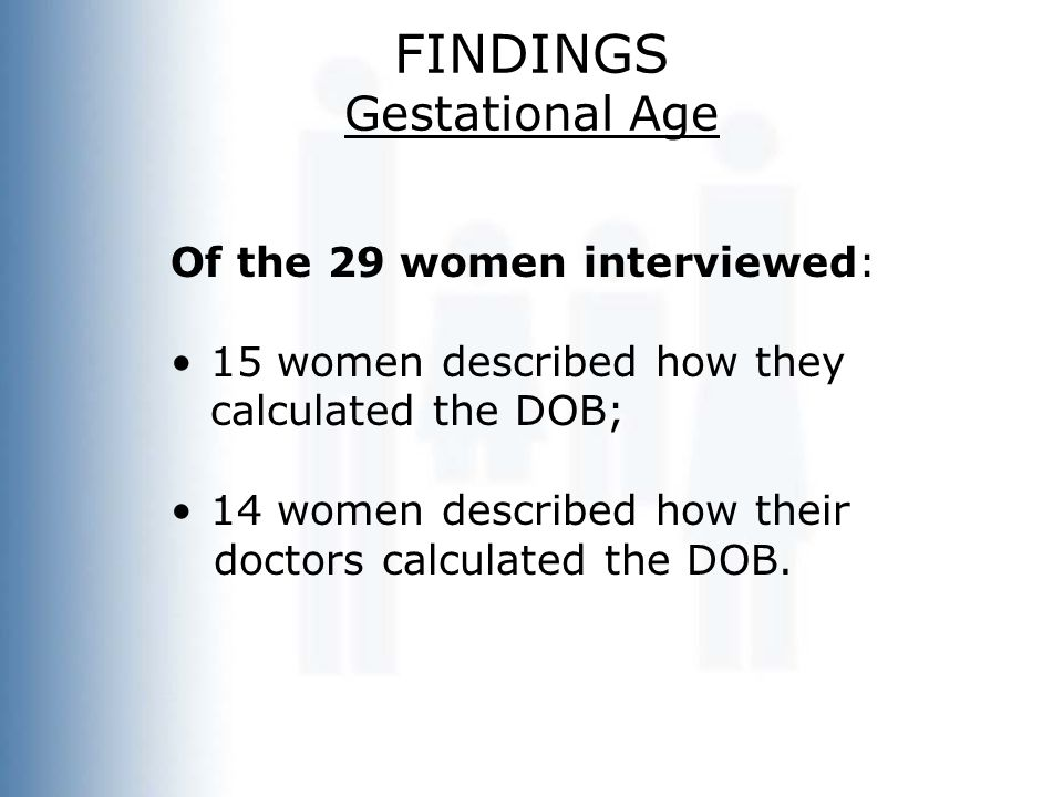 FINDINGS Gestational Age Of the 29 women interviewed: 15 women described how they calculated the DOB; 14 women described how their doctors calculated
