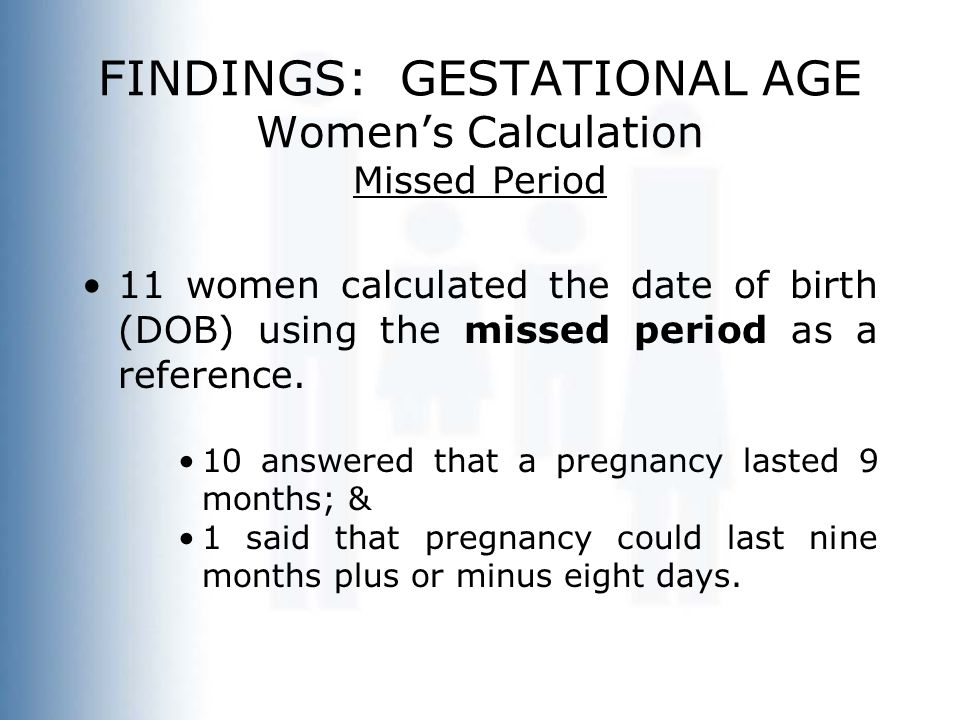 FINDINGS: GESTATIONAL AGE Women's Calculation Missed Period 11 women calculated the date of birth (DOB) using the missed period as a reference. 10 ans