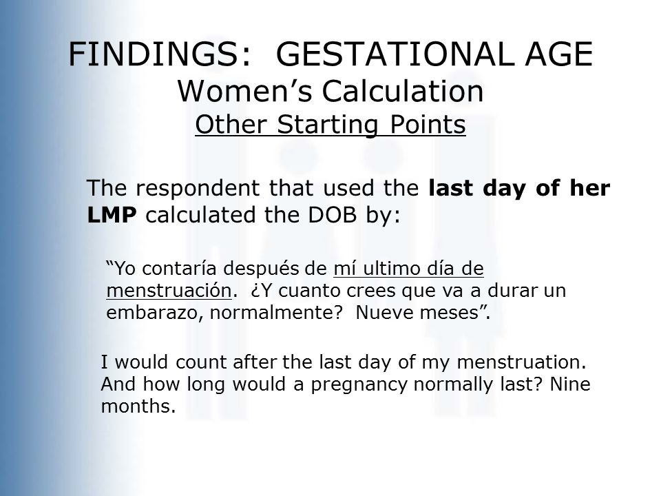 """FINDINGS: GESTATIONAL AGE Women's Calculation Other Starting Points The respondent that used the last day of her LMP calculated the DOB by: """"Yo contar"""