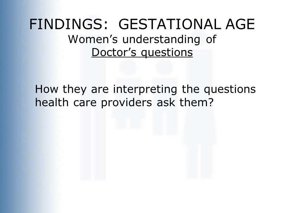 FINDINGS: GESTATIONAL AGE Women's understanding of Doctor's questions How they are interpreting the questions health care providers ask them