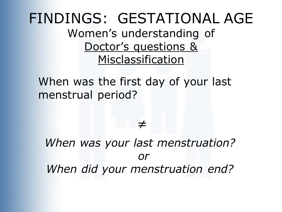FINDINGS: GESTATIONAL AGE Women's understanding of Doctor's questions & Misclassification When was the first day of your last menstrual period?  When
