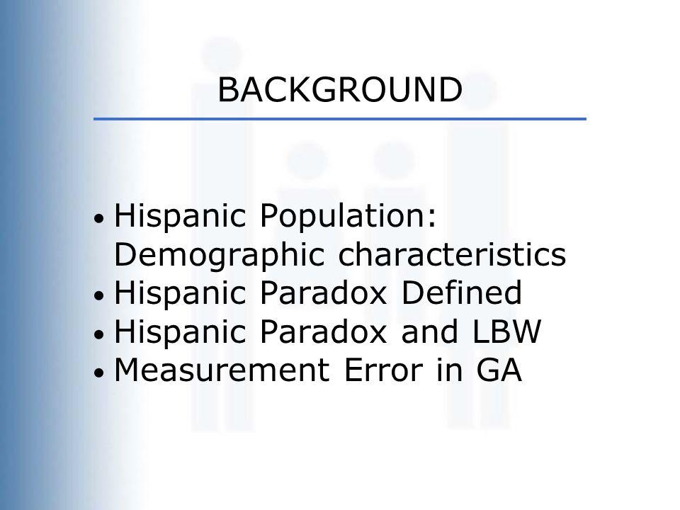 BACKGROUND Hispanic Population: Demographic characteristics Hispanic Paradox Defined Hispanic Paradox and LBW Measurement Error in GA