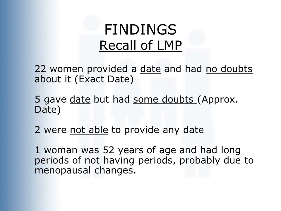 FINDINGS Recall of LMP 22 women provided a date and had no doubts about it (Exact Date) 5 gave date but had some doubts (Approx.