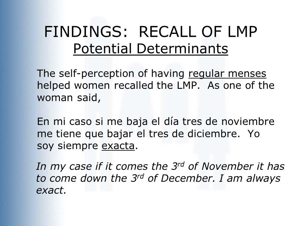 FINDINGS: RECALL OF LMP Potential Determinants The self-perception of having regular menses helped women recalled the LMP.