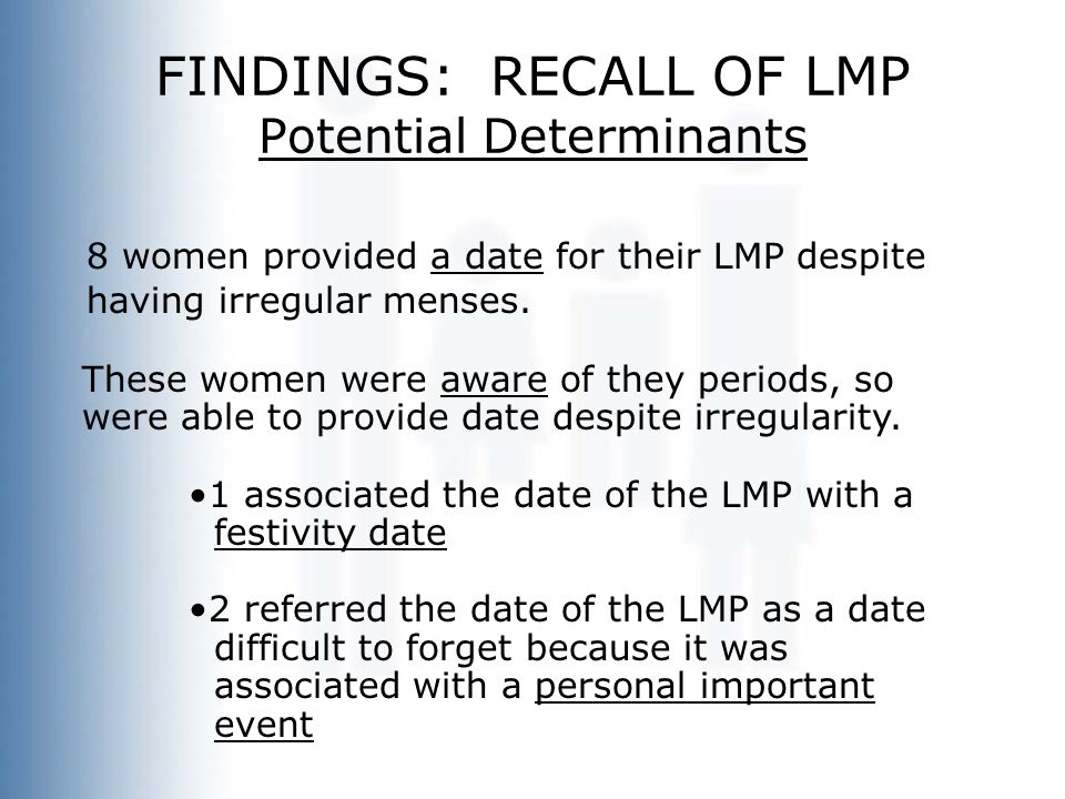 FINDINGS: RECALL OF LMP Potential Determinants 8 women provided a date for their LMP despite having irregular menses. These women were aware of they p