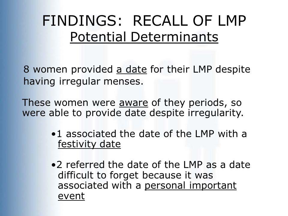 FINDINGS: RECALL OF LMP Potential Determinants 8 women provided a date for their LMP despite having irregular menses.