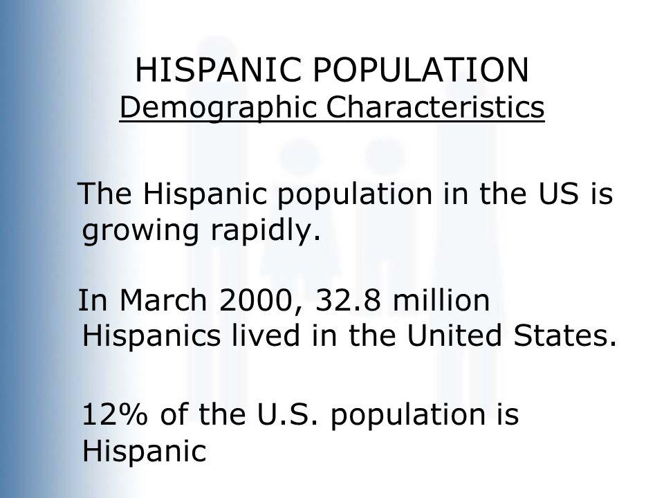 HISPANIC POPULATION Demographic Characteristics The Hispanic population in the US is growing rapidly.