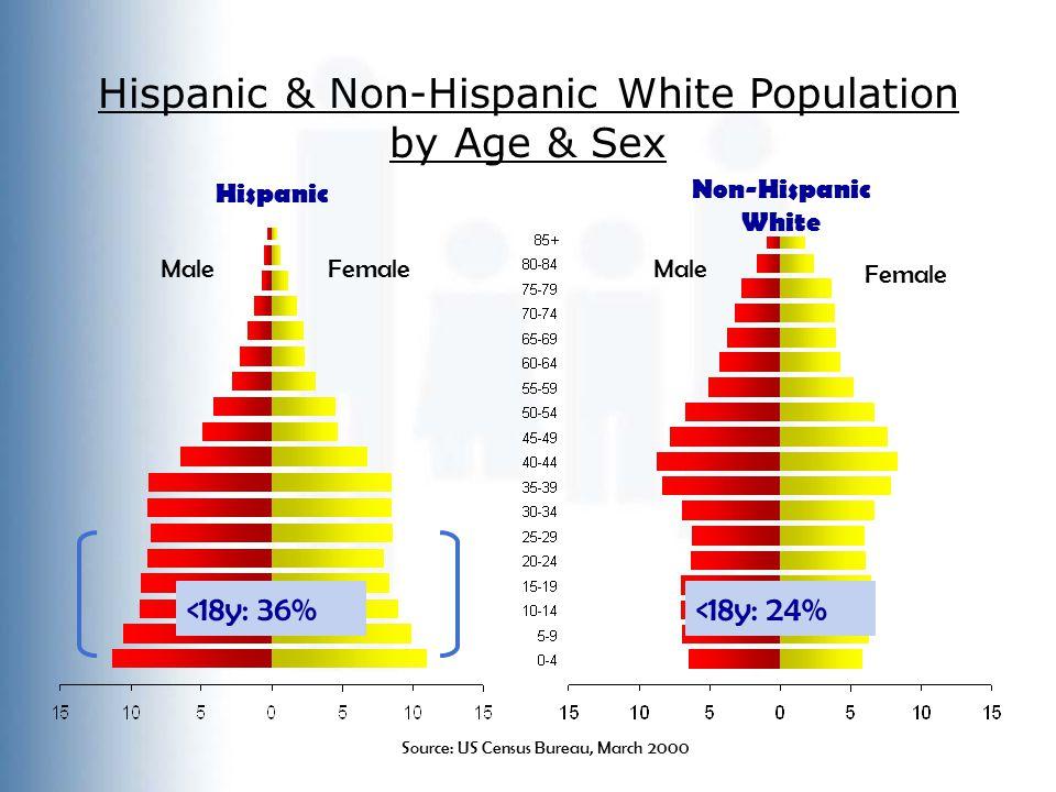 Hispanic & Non-Hispanic White Population by Age & Sex Hispanic Non-Hispanic White Male Female Source: US Census Bureau, March 2000 <18y: 36%<18y: 24%