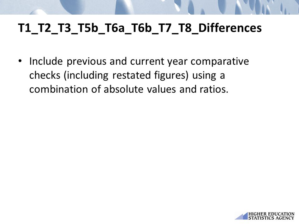 T1_T2_T3_T5b_T6a_T6b_T7_T8_Differences Include previous and current year comparative checks (including restated figures) using a combination of absolu