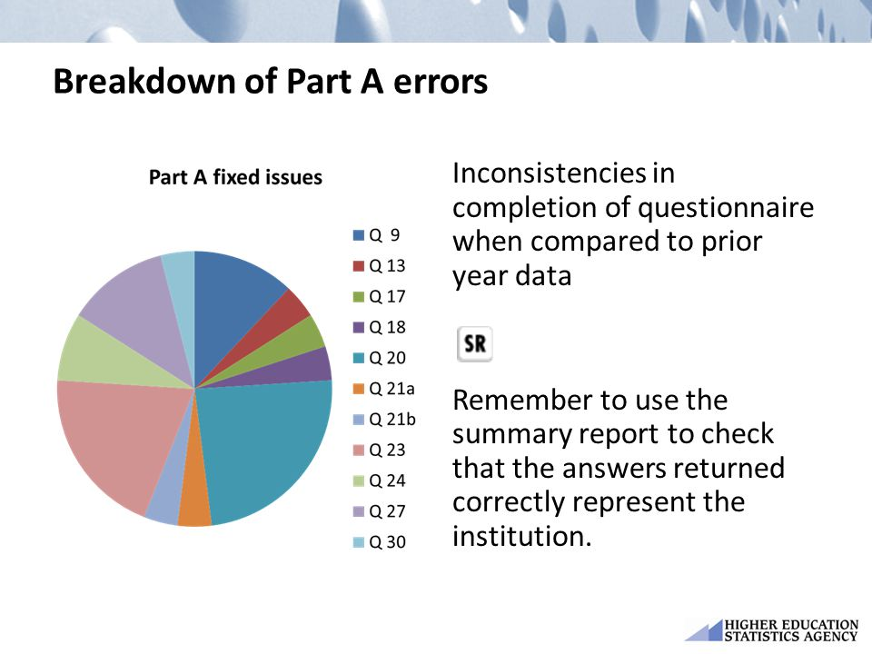 Breakdown of Part A errors Inconsistencies in completion of questionnaire when compared to prior year data Remember to use the summary report to check