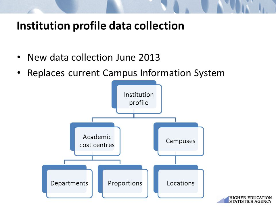 Institution profile data collection New data collection June 2013 Replaces current Campus Information System Institution profile Academic cost centres