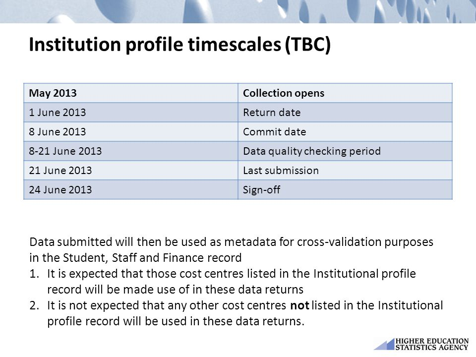 Institution profile timescales (TBC) May 2013Collection opens 1 June 2013Return date 8 June 2013Commit date 8-21 June 2013Data quality checking period
