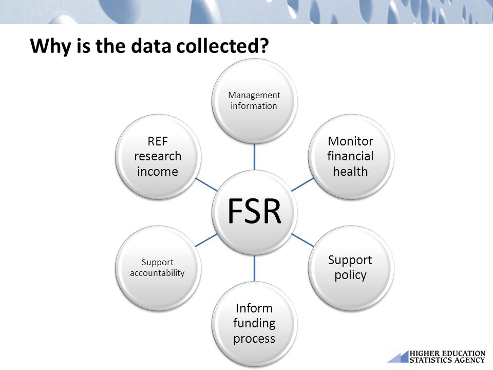 Why is the data collected? FSR Management information Monitor financial health Support policy Inform funding process Support accountability REF resear