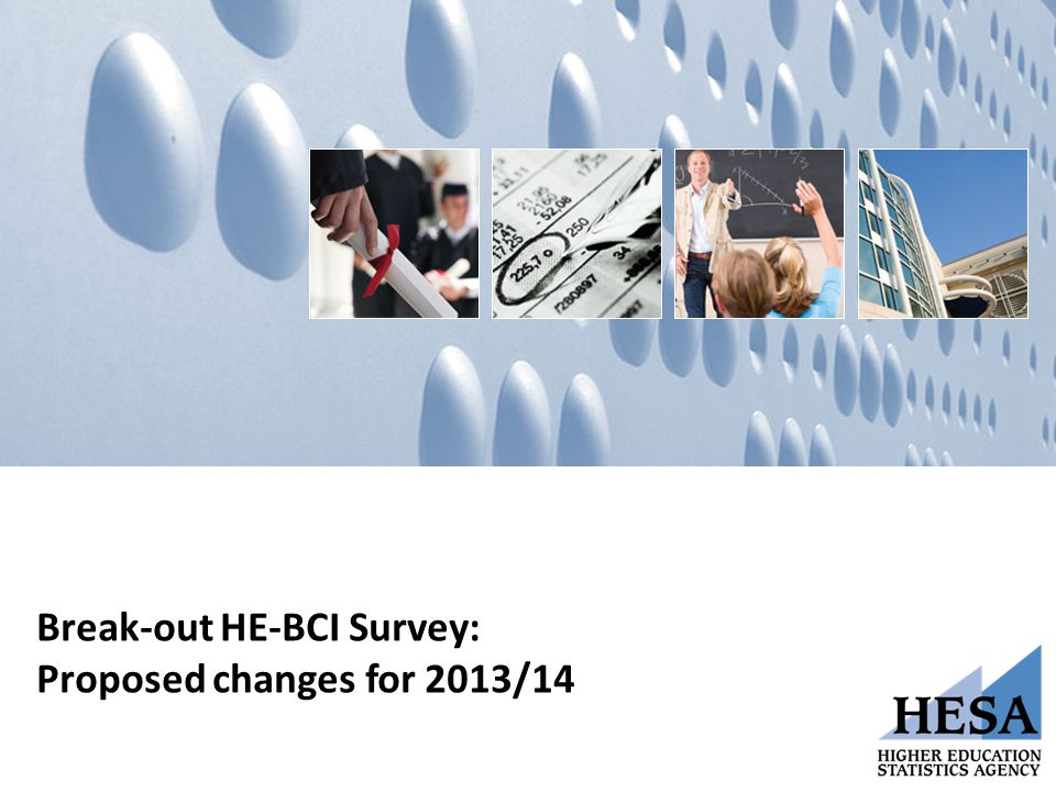 Break-out HE-BCI Survey: Proposed changes for 2013/14