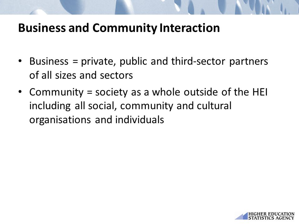 Business and Community Interaction Business = private, public and third-sector partners of all sizes and sectors Community = society as a whole outsid