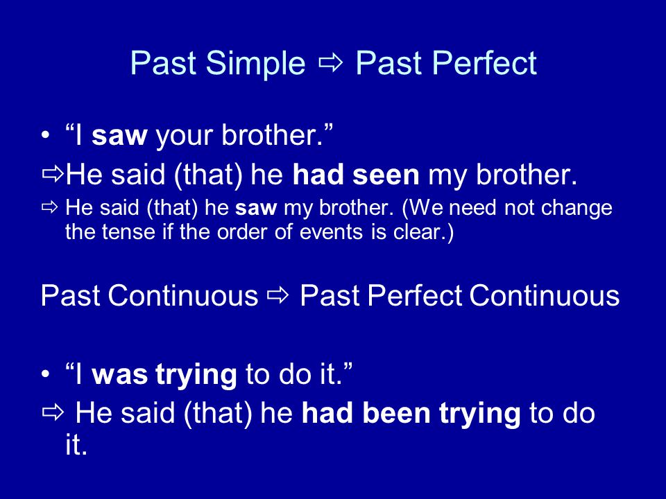 "Past Simple  Past Perfect ""I saw your brother.""  He said (that) he had seen my brother.  He said (that) he saw my brother. (We need not change the"