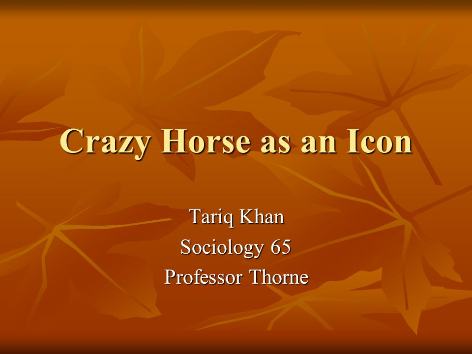 Crazy Horse as an Icon Tariq Khan Sociology 65 Professor Thorne