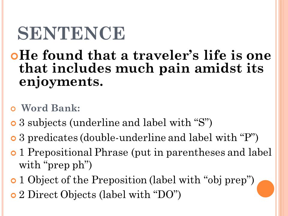 "SENTENCE He found that a traveler's life is one that includes much pain amidst its enjoyments. Word Bank: 3 subjects (underline and label with ""S"") 3"