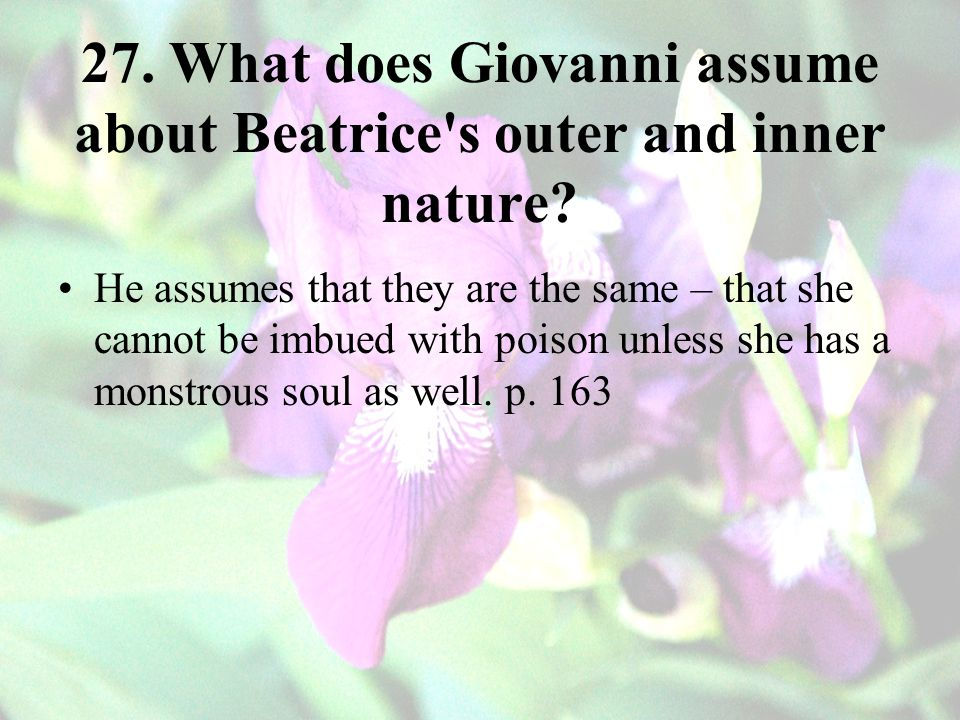 27.What does Giovanni assume about Beatrice s outer and inner nature.
