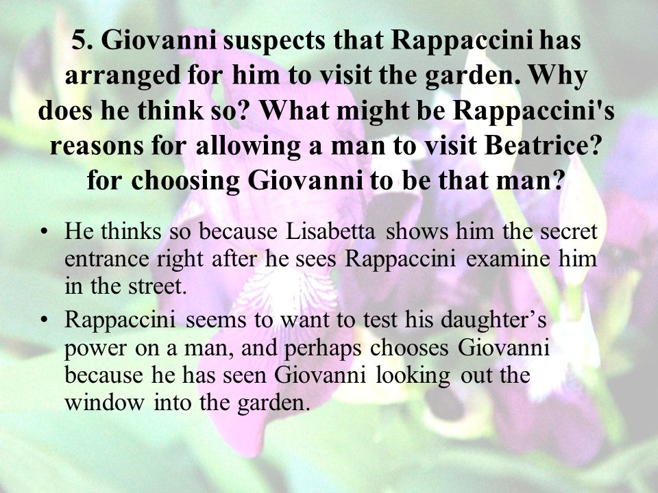 5.Giovanni suspects that Rappaccini has arranged for him to visit the garden.