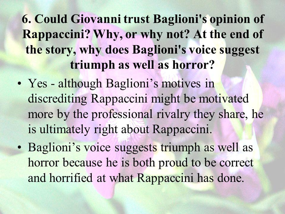 6.Could Giovanni trust Baglioni s opinion of Rappaccini.