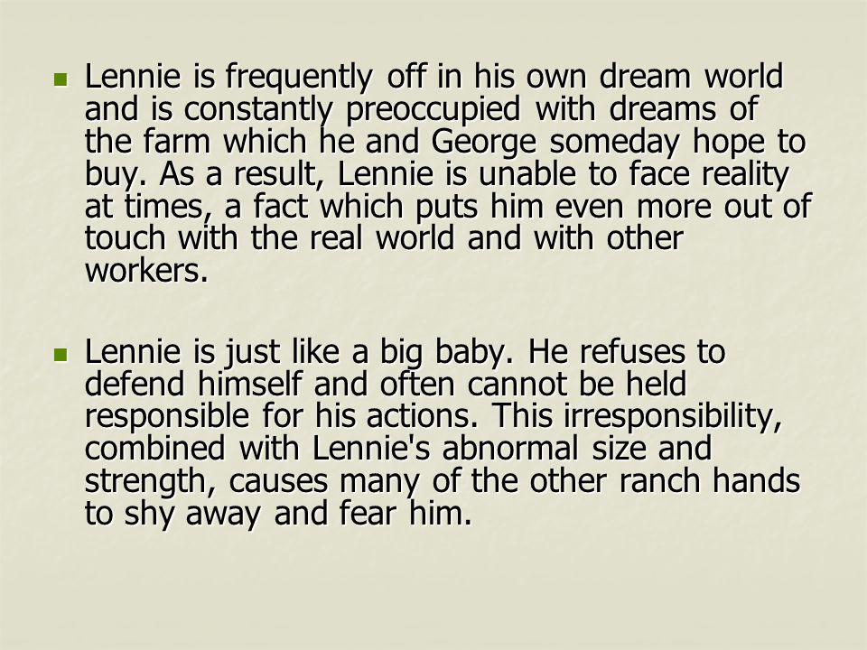 of mice and men and the american dream essay Of mice and men dreams hopes and dreams are important in 'of mice and men'not is it important to the characters of the story itself, it is the theme of the novel in this essay i will talk about the hopes and dreams of the main ensemble and also about the context of the novel, the american dream and the great depression on the 1930's.