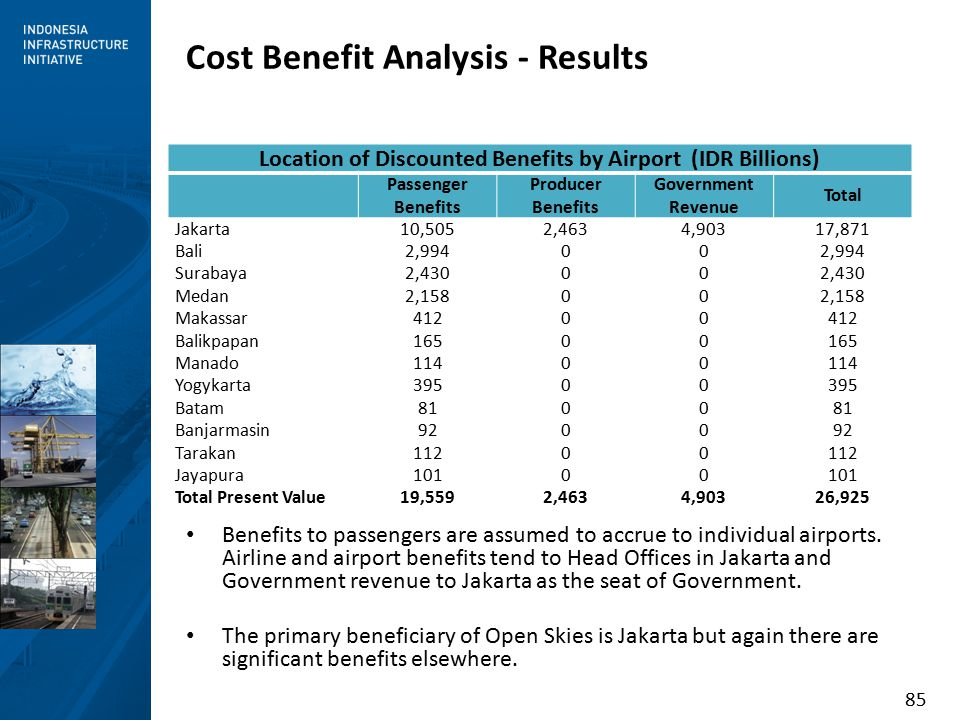 85 Benefits to passengers are assumed to accrue to individual airports.