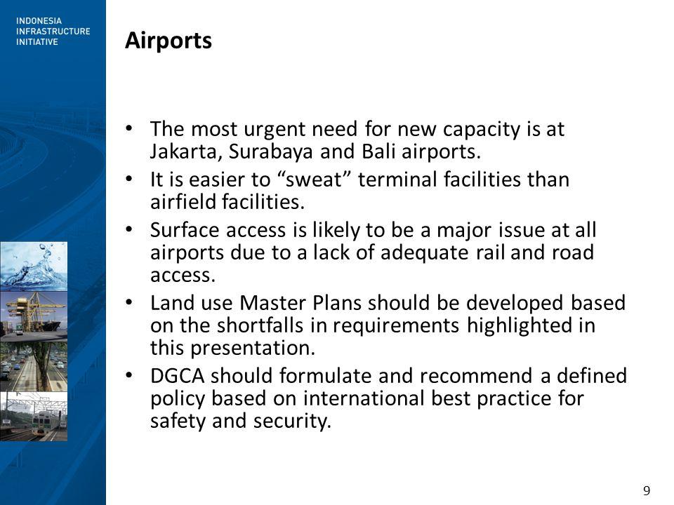 9 Airports The most urgent need for new capacity is at Jakarta, Surabaya and Bali airports.