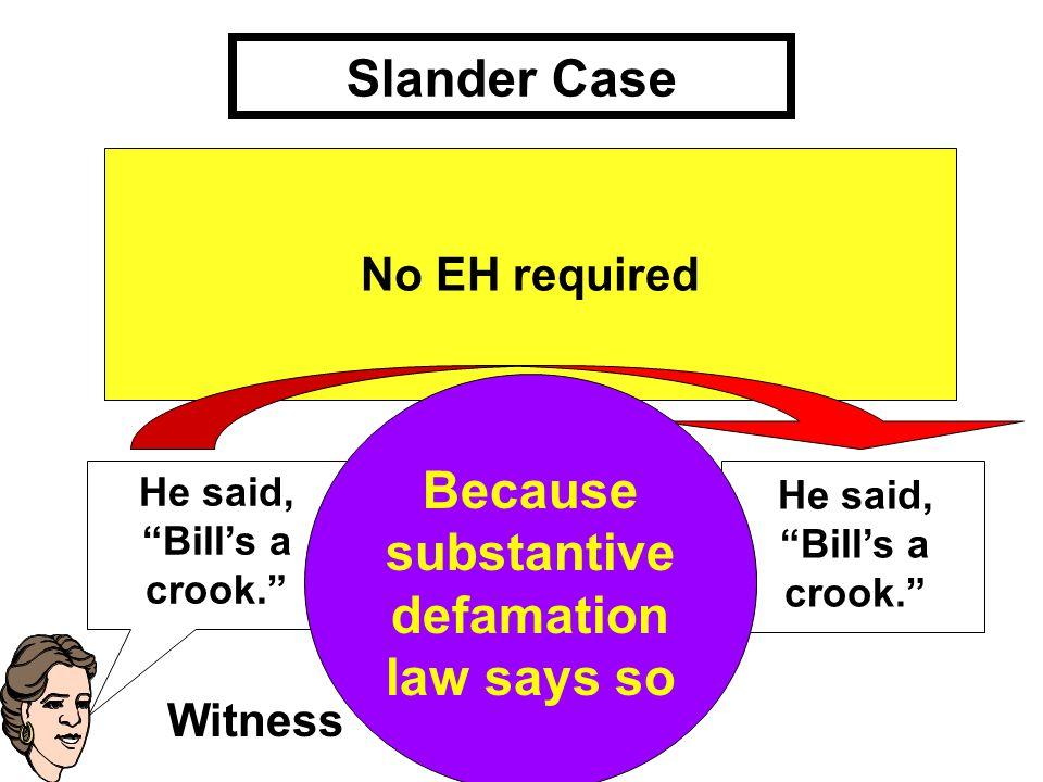 Slander Case He said, Bill's a crook. No EH required Witness But why is He said, 'Bill's a crook material.