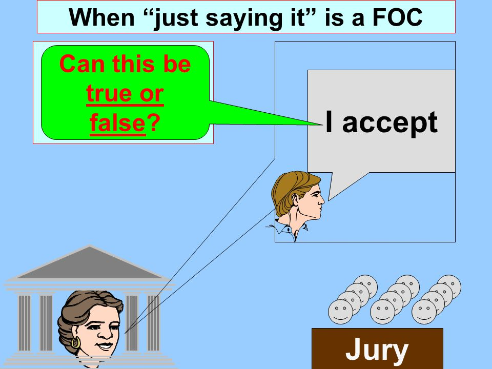 When just saying it is a FOC Verbal Act: Contract Formation Jury I accept Can this be true or false?