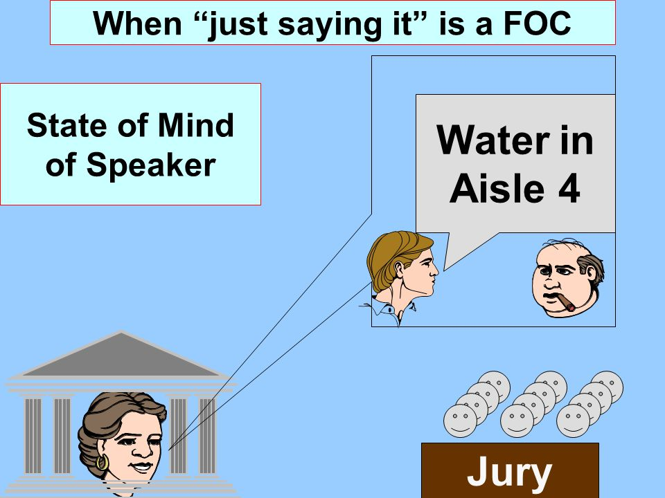 When just saying it is a FOC State of Mind of Speaker Jury Water in Aisle 4