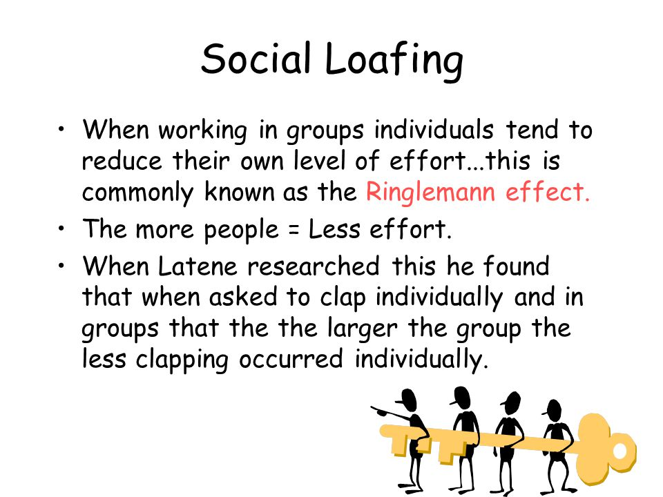 Social Loafing When working in groups individuals tend to reduce their own level of effort...this is commonly known as the Ringlemann effect.
