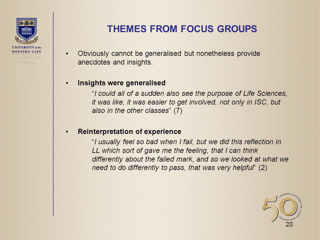 THEMES FROM FOCUS GROUPS Obviously cannot be generalised but nonetheless provide anecdotes and insights.