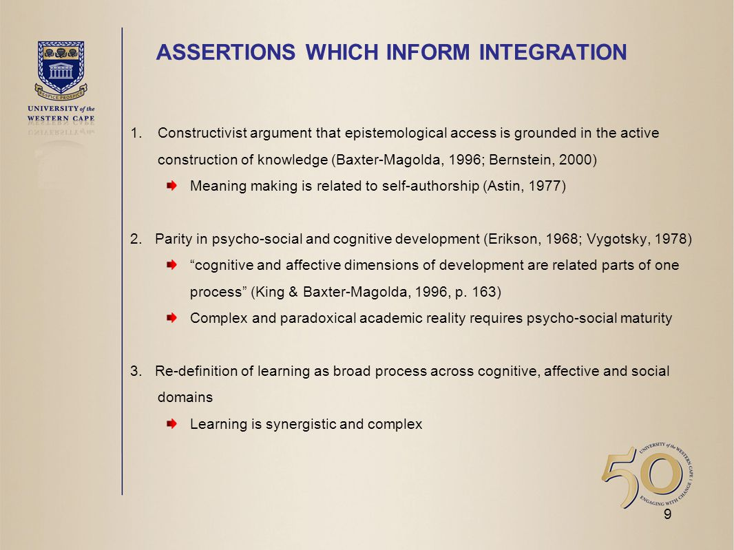 ASSERTIONS WHICH INFORM INTEGRATION 1.Constructivist argument that epistemological access is grounded in the active construction of knowledge (Baxter-Magolda, 1996; Bernstein, 2000) Meaning making is related to self-authorship (Astin, 1977) 2.