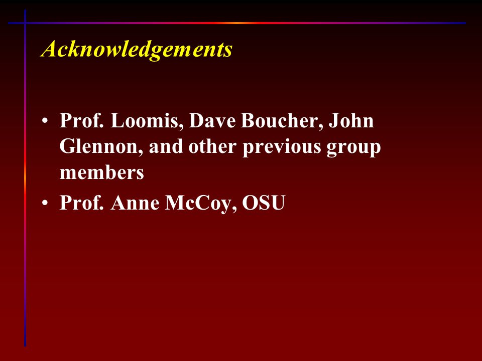 Acknowledgements Prof. Loomis, Dave Boucher, John Glennon, and other previous group members Prof.