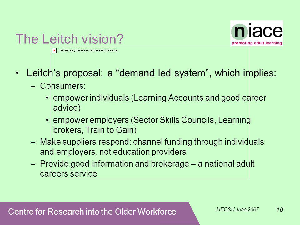 Centre for Research into the Older Workforce HECSU June 2007 10 The Leitch vision.