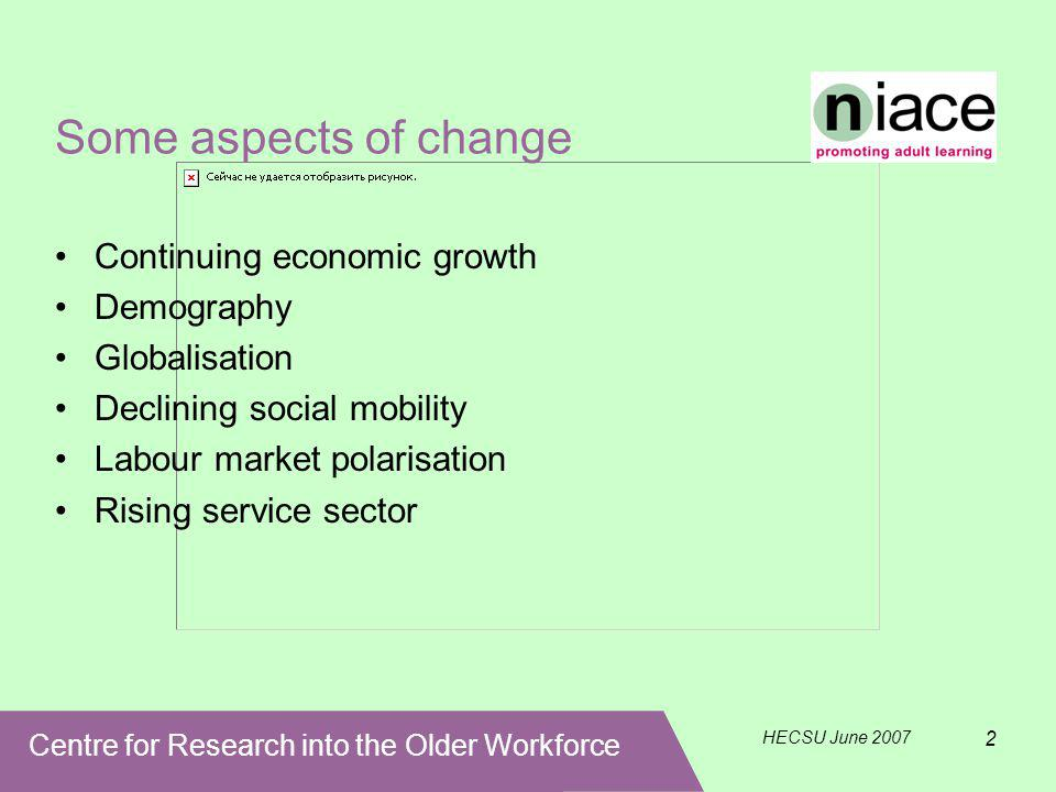Centre for Research into the Older Workforce HECSU June 2007 2 Some aspects of change Continuing economic growth Demography Globalisation Declining social mobility Labour market polarisation Rising service sector