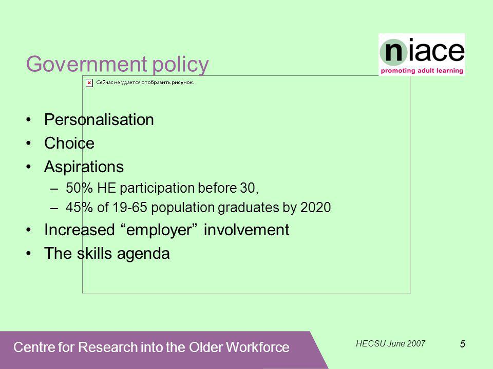 Centre for Research into the Older Workforce HECSU June 2007 5 Government policy Personalisation Choice Aspirations –50% HE participation before 30, –45% of 19-65 population graduates by 2020 Increased employer involvement The skills agenda