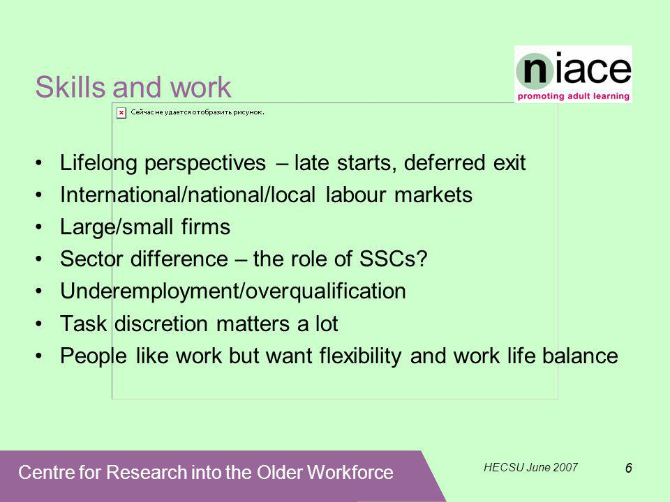 Centre for Research into the Older Workforce HECSU June 2007 6 Skills and work Lifelong perspectives – late starts, deferred exit International/national/local labour markets Large/small firms Sector difference – the role of SSCs.