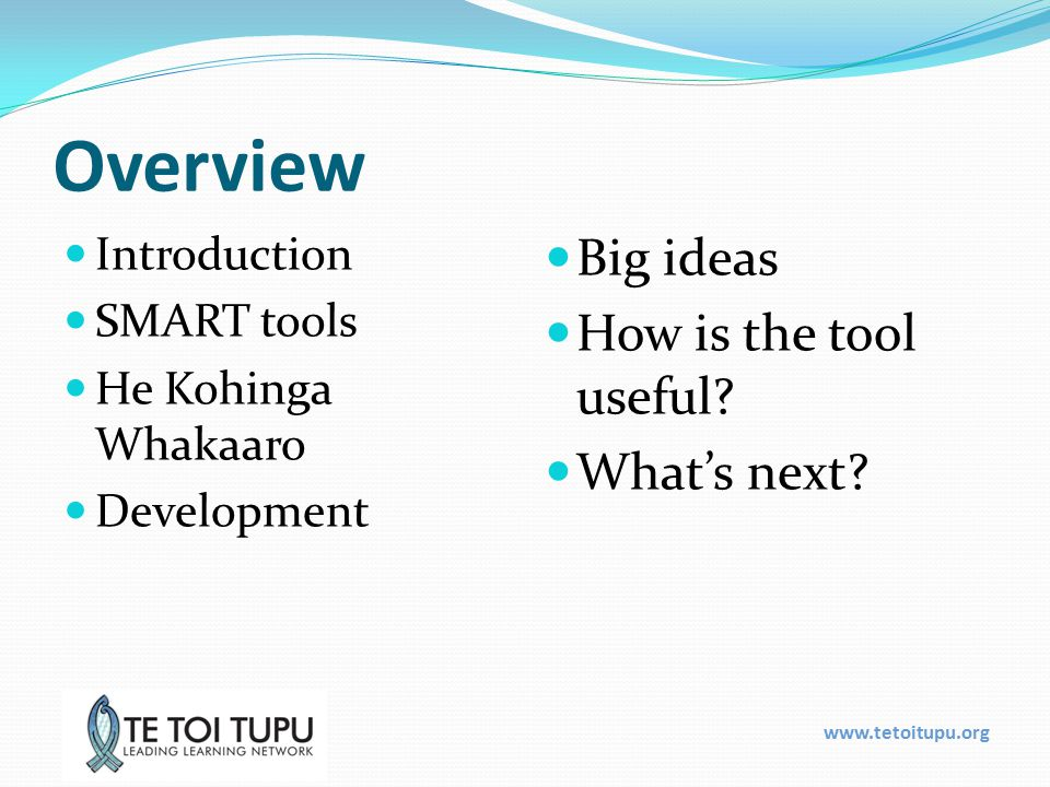 Overview Introduction SMART tools He Kohinga Whakaaro Development Big ideas How is the tool useful.