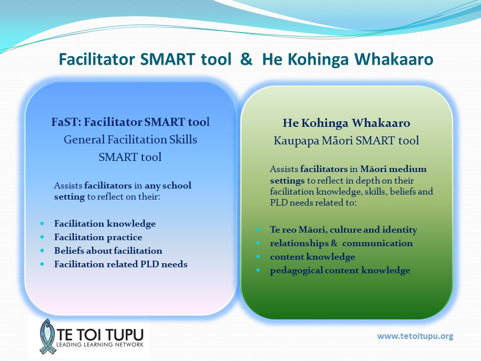 www.tetoitupu.org He Kohinga Whakaaro A tool for Māori medium To gather information to support facilitators in their roles in Māori and dual medium settings - to improve their practice through reflecting on their strengths and professional development needs.