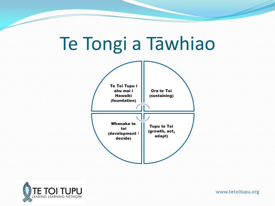 www.tetoitupu.org Te Tongi a Tāwhiao Te Toi Tupu i ahu mai i Hawaiki (foundation) Ora te Toi (sustaining) Tupu te Toi (growth, act, adapt) Whanake te toi (development / decide)