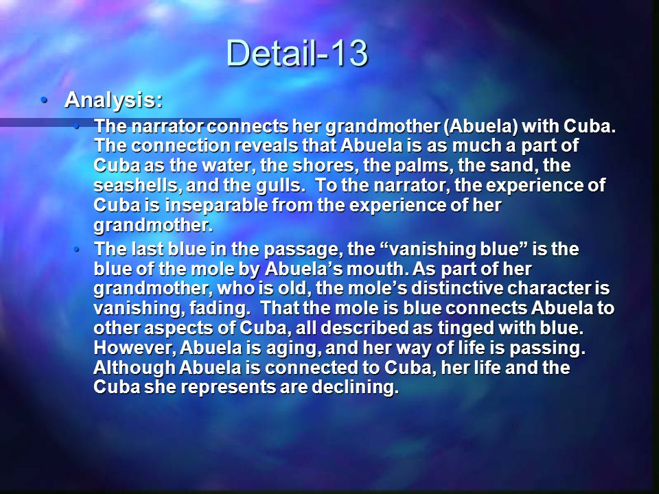 Detail-13 Analysis:Analysis: The narrator connects her grandmother (Abuela) with Cuba.