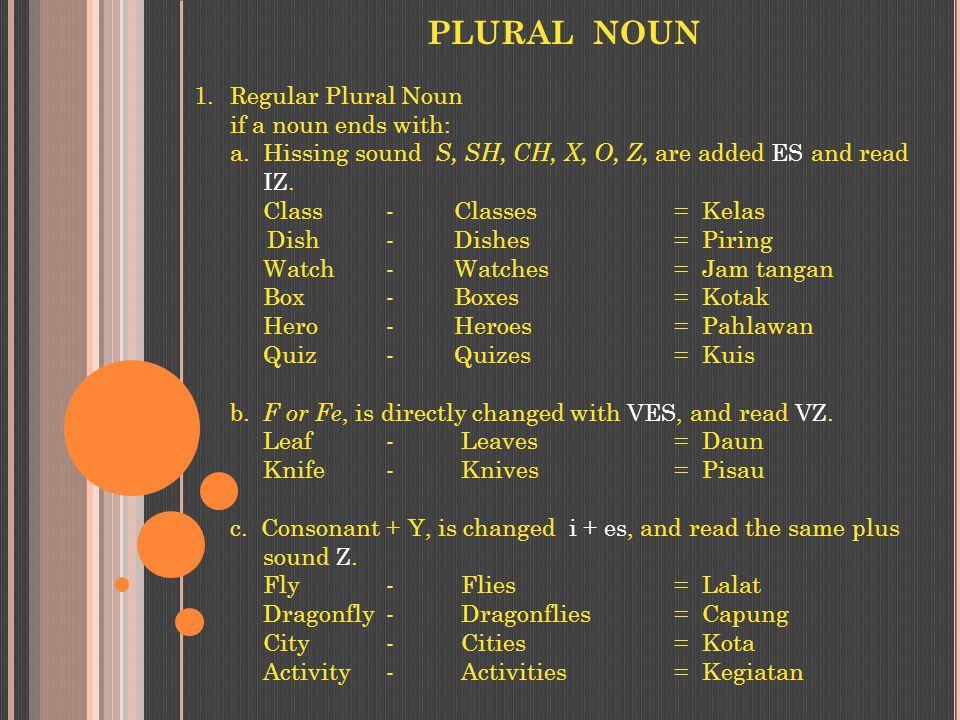 PLURAL NOUN 1.Regular Plural Noun if a noun ends with: a.
