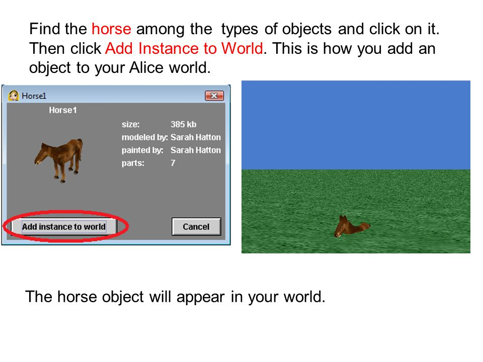 Find the horse among the types of objects and click on it.