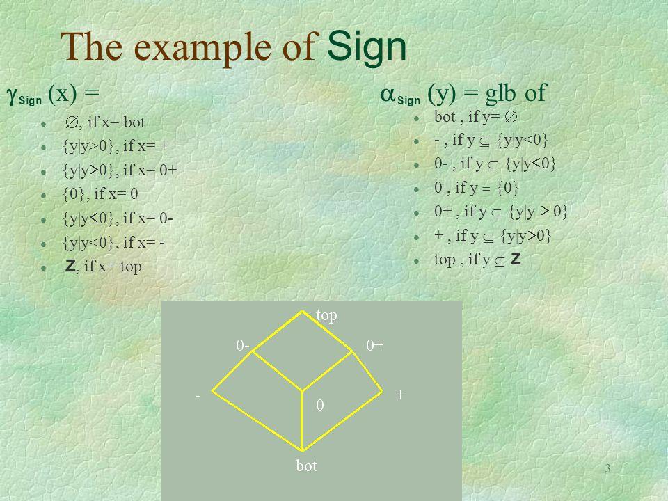 3 The example of Sign  Sign  (x) = , if x= bot l {y|y>0}, if x= + l {y|y  0}, if x= 0+ l {0}, if x= 0 {y|y  0}, if x= 0- l {y|y<0}, if x= - Z, if