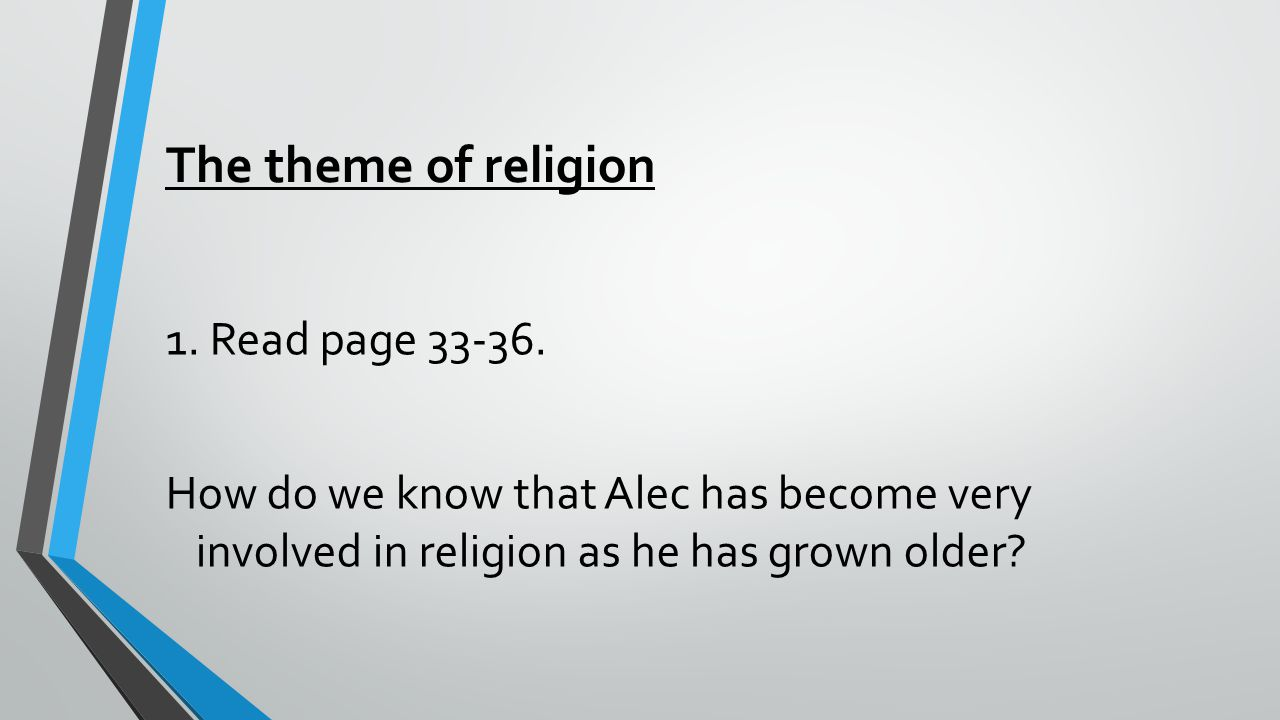The theme of religion 1. Read page 33-36.